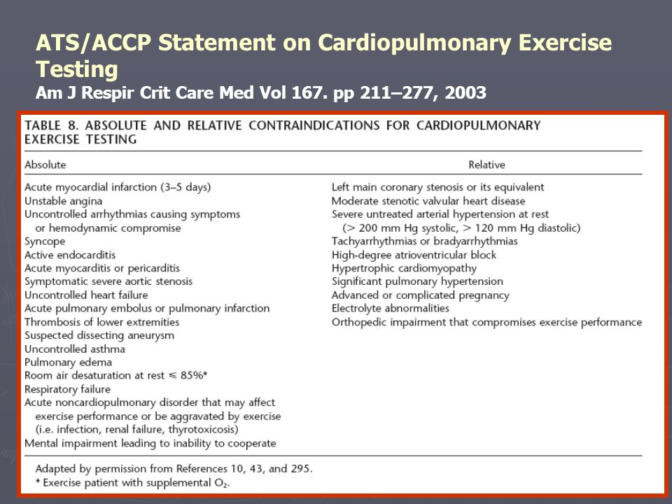 ATS/ACCP Statement on Cardiopulmonary Exercise Testing Am J Respir Crit Care Med Vol 167.