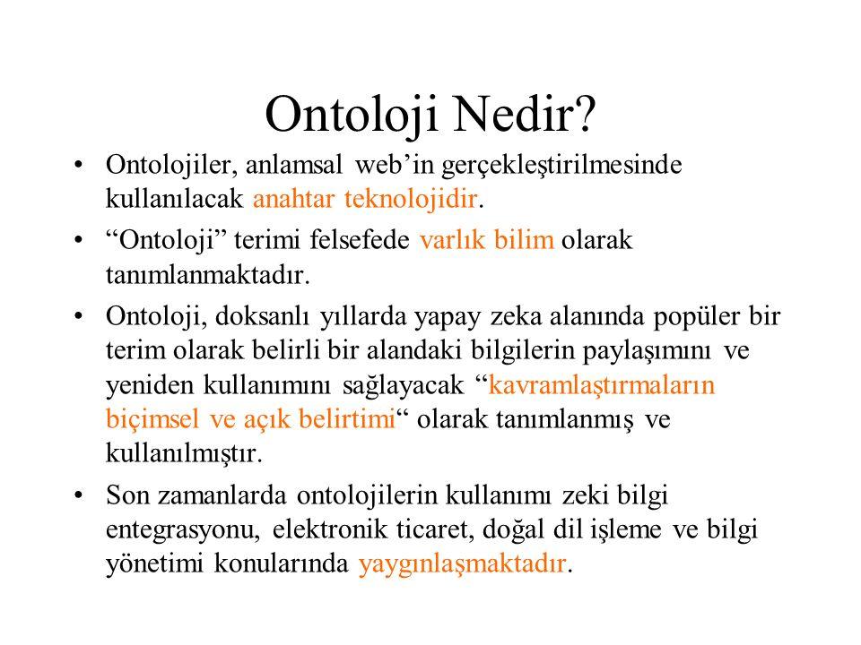 Ontoloji Nedir Ontolojiler, anlamsal web'in gerçekleştirilmesinde kullanılacak anahtar teknolojidir.