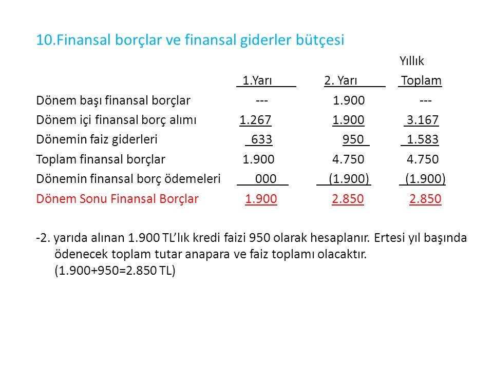 10.Finansal borçlar ve finansal giderler bütçesi