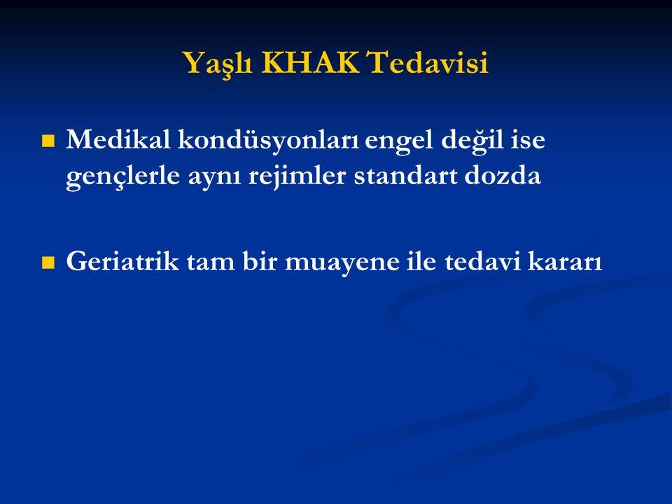 Yaşlı KHAK Tedavisi Medikal kondüsyonları engel değil ise gençlerle aynı rejimler standart dozda.