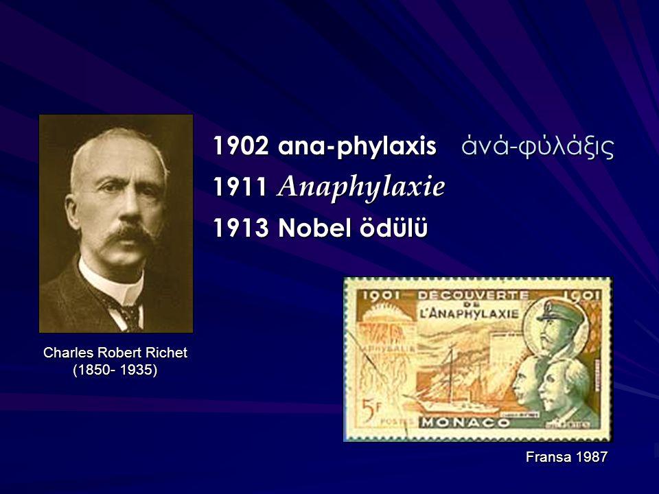 1902 ana-phylaxis άνά-φύλάξις 1911 Anaphylaxie 1913 Nobel ödülü