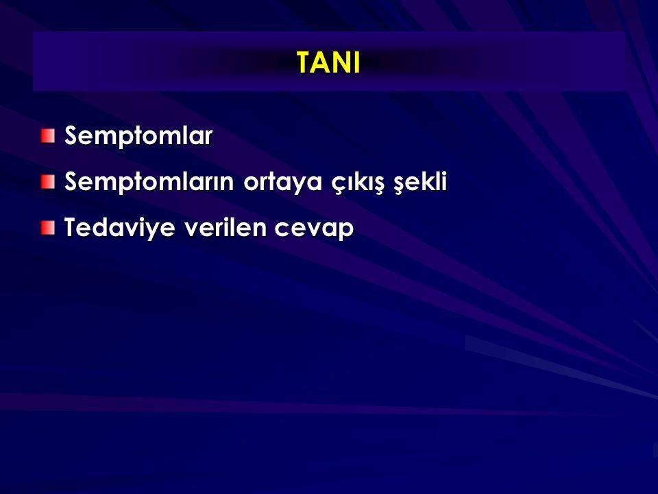 TANI Semptomlar Semptomların ortaya çıkış şekli Tedaviye verilen cevap