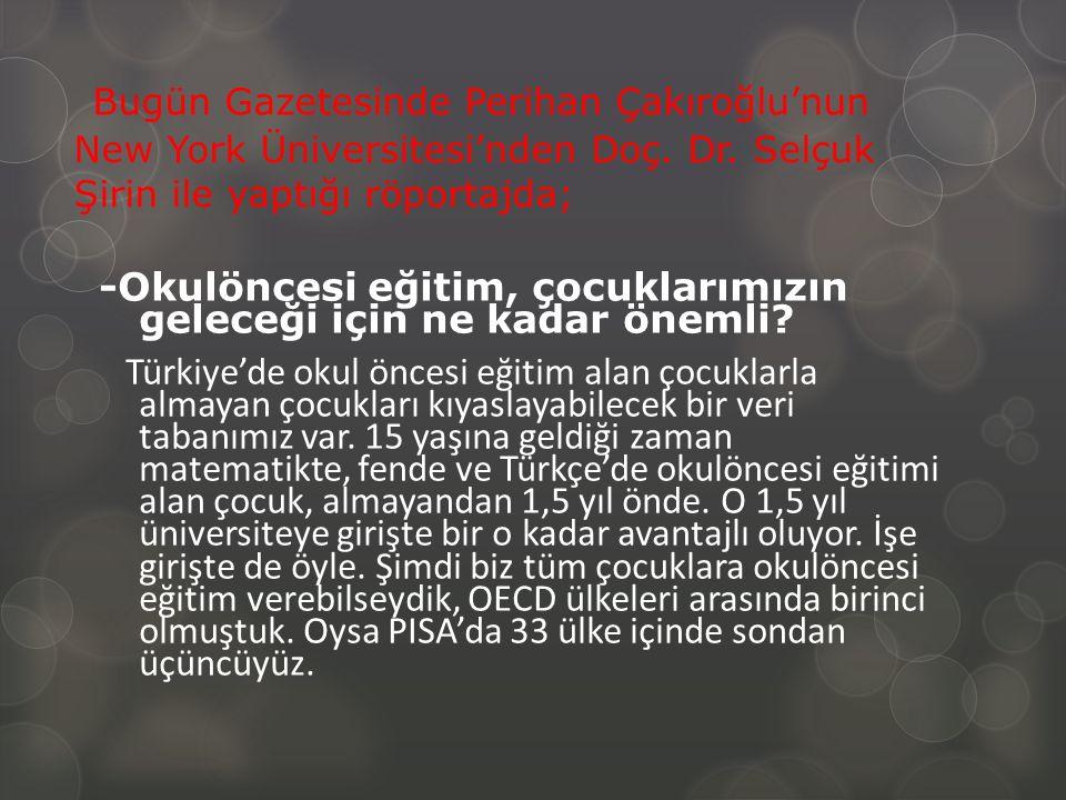 Bugün Gazetesinde Perihan Çakıroğlu'nun New York Üniversitesi'nden Doç