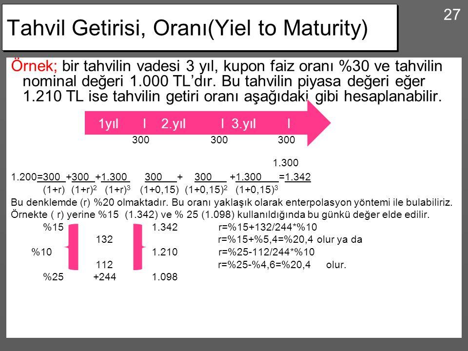 Tahvil Getirisi, Oranı(Yiel to Maturity)