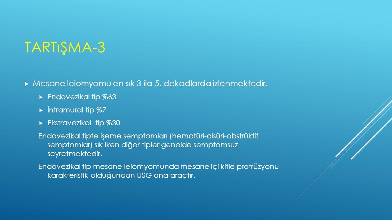 Tartışma-3 Mesane leiomyomu en sık 3 ila 5. dekadlarda izlenmektedir.