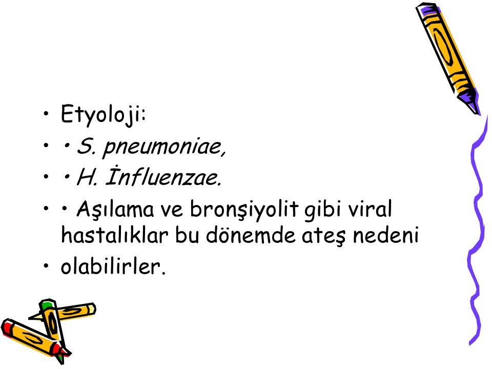 Etyoloji: • S. pneumoniae, • H. İnfluenzae. • Aşılama ve bronşiyolit gibi viral hastalıklar bu dönemde ateş nedeni.