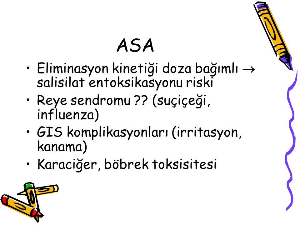 ASA Eliminasyon kinetiği doza bağımlı  salisilat entoksikasyonu riski