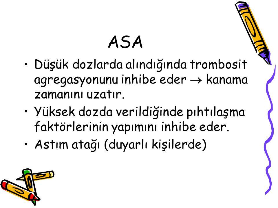 ASA Düşük dozlarda alındığında trombosit agregasyonunu inhibe eder  kanama zamanını uzatır.