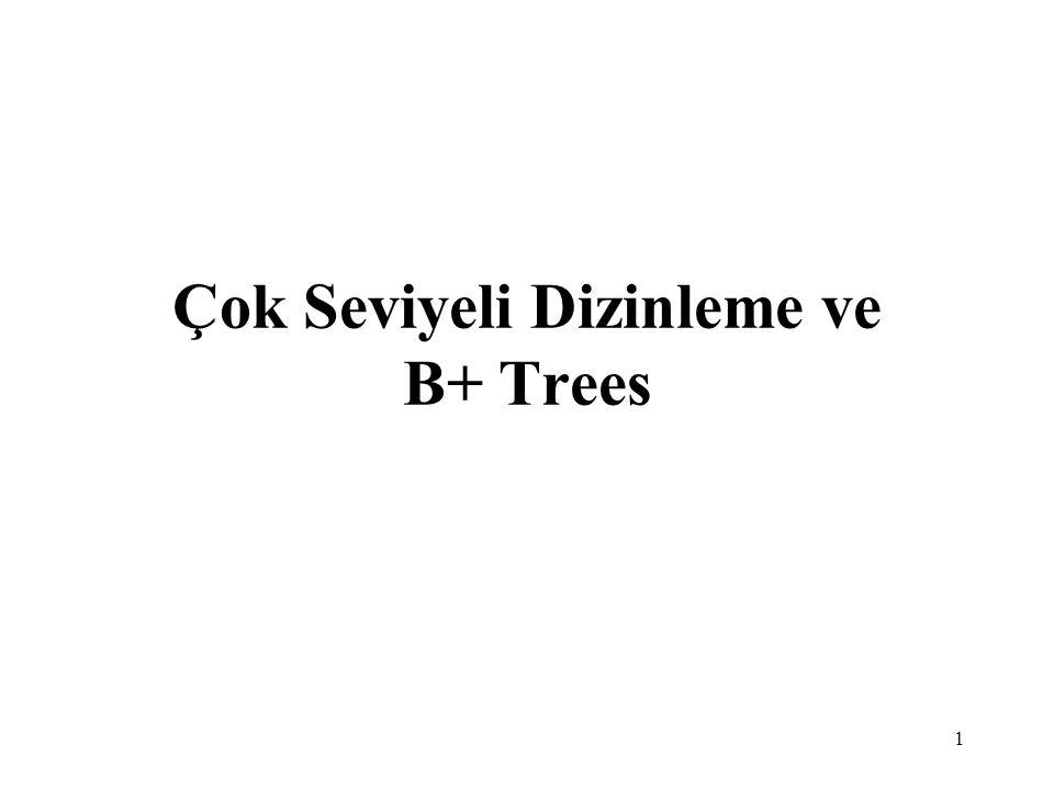 Çok Seviyeli Dizinleme ve B+ Trees