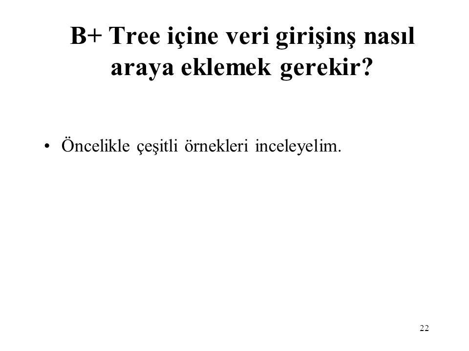 B+ Tree içine veri girişinş nasıl araya eklemek gerekir
