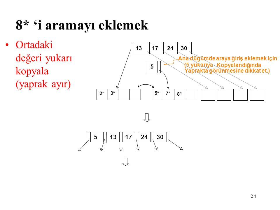 8* 'i aramayı eklemek Ortadaki değeri yukarı kopyala (yaprak ayır)