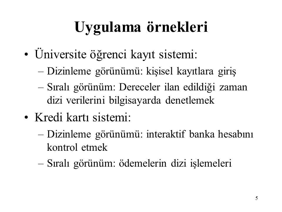 Uygulama örnekleri Üniversite öğrenci kayıt sistemi: