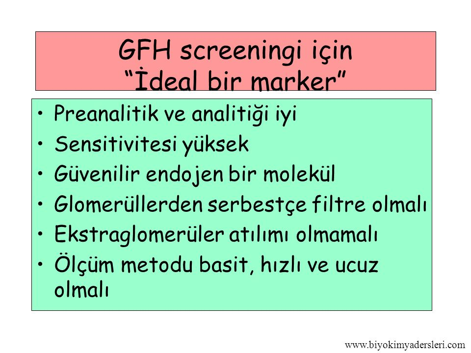 GFH screeningi için İdeal bir marker
