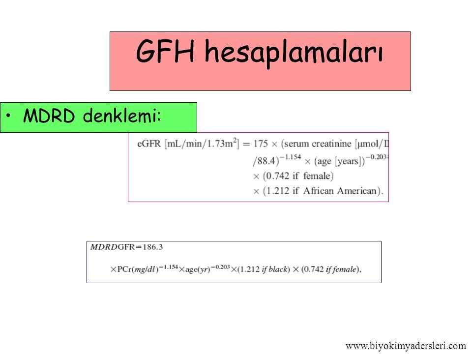 GFH hesaplamaları MDRD denklemi: