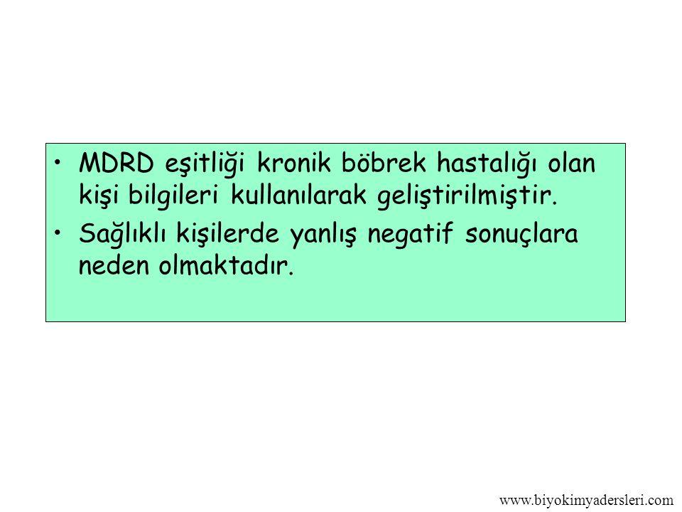 MDRD eşitliği kronik böbrek hastalığı olan kişi bilgileri kullanılarak geliştirilmiştir.