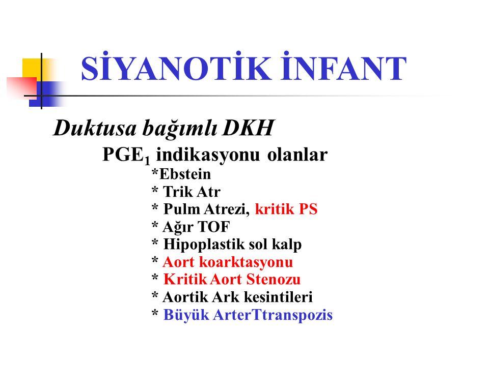 SİYANOTİK İNFANT Duktusa bağımlı DKH PGE1 indikasyonu olanlar *Ebstein