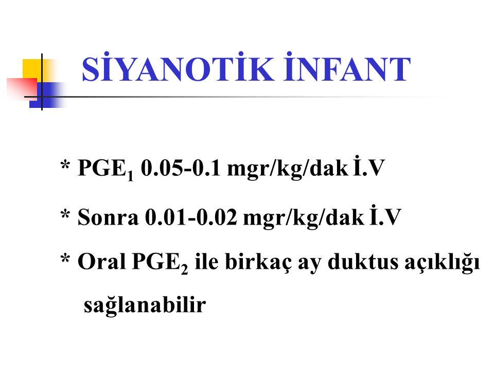 SİYANOTİK İNFANT * PGE1 0.05-0.1 mgr/kg/dak İ.V