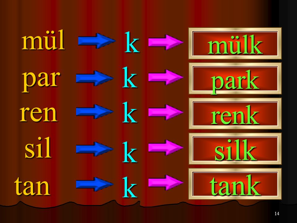 mül k mülk par k park ren k renk sil k silk tan k tank