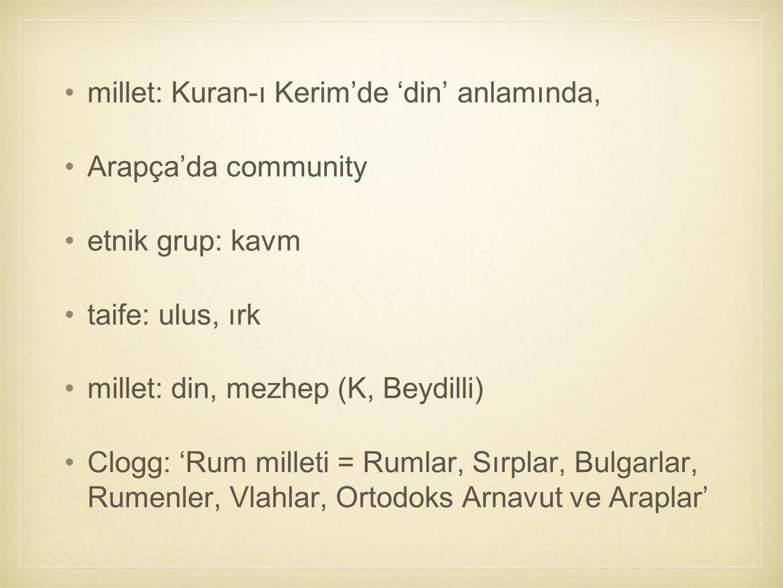 millet: Kuran-ı Kerim'de 'din' anlamında,