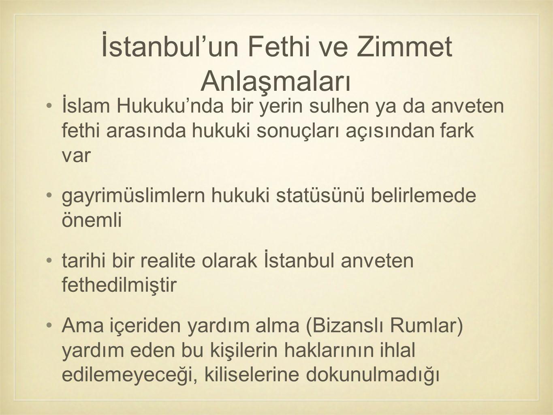 İstanbul'un Fethi ve Zimmet Anlaşmaları