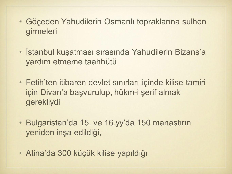 Göçeden Yahudilerin Osmanlı topraklarına sulhen girmeleri