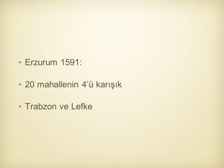 Erzurum 1591: 20 mahallenin 4'ü karışık Trabzon ve Lefke