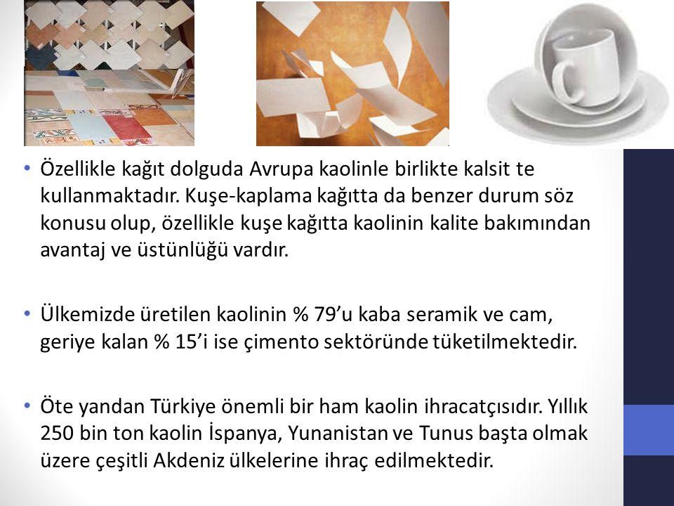 Özellikle kağıt dolguda Avrupa kaolinle birlikte kalsit te kullanmaktadır. Kuşe-kaplama kağıtta da benzer durum söz konusu olup, özellikle kuşe kağıtta kaolinin kalite bakımından avantaj ve üstünlüğü vardır.