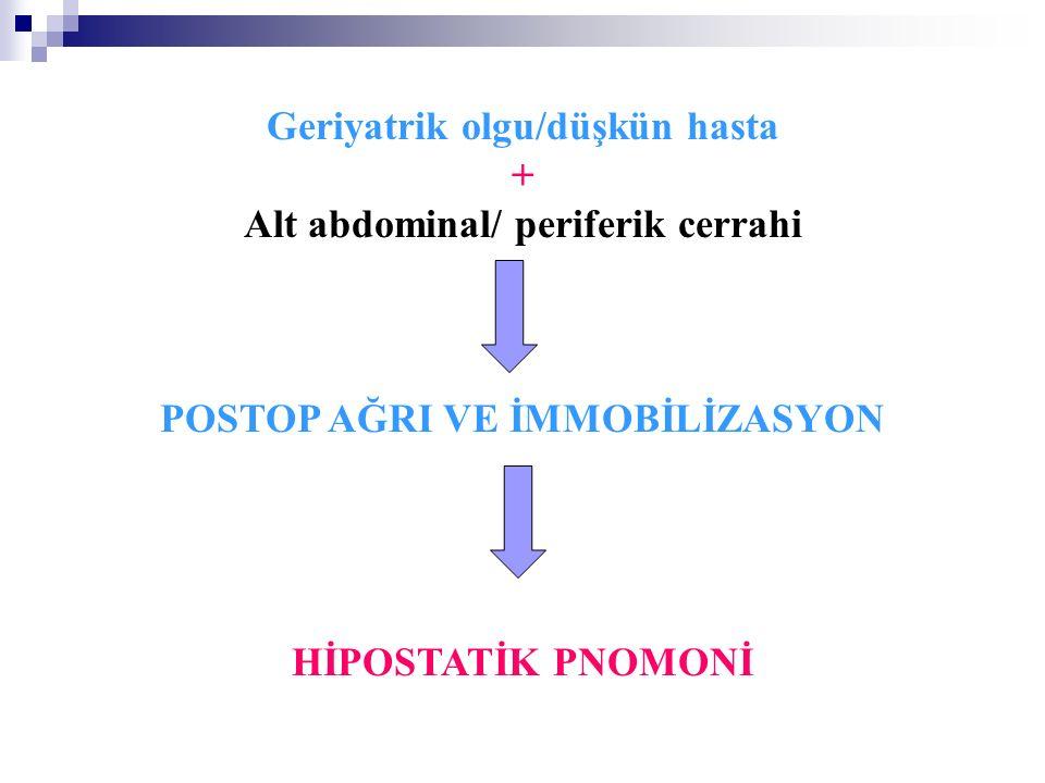 Geriyatrik olgu/düşkün hasta + Alt abdominal/ periferik cerrahi