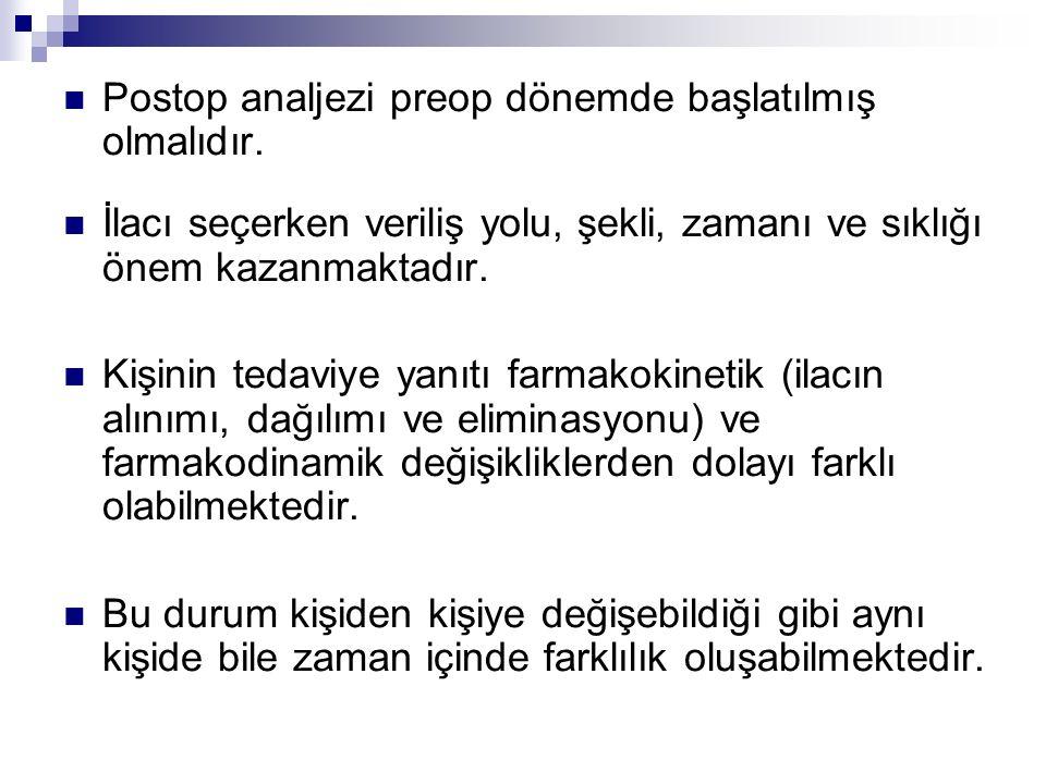 Postop analjezi preop dönemde başlatılmış olmalıdır.