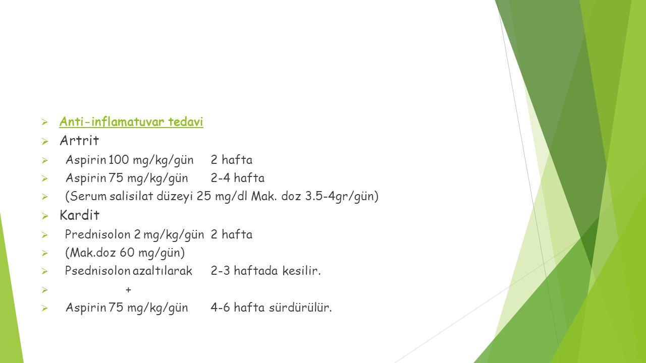Artrit Kardit Anti-inflamatuvar tedavi Aspirin 100 mg/kg/gün 2 hafta