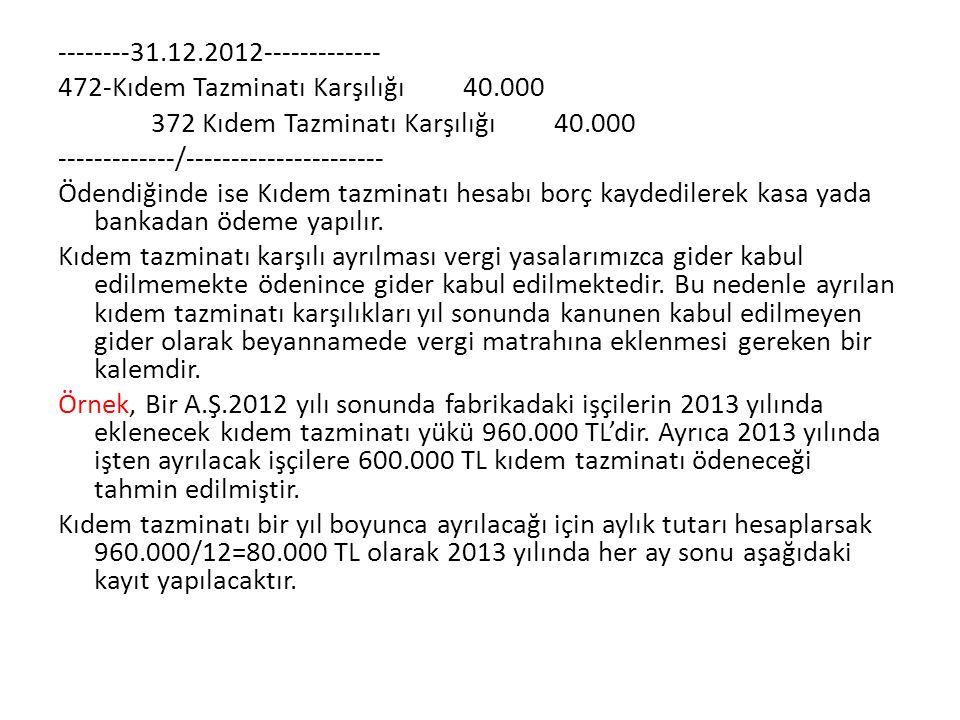 --------31. 12. 2012------------- 472-Kıdem Tazminatı Karşılığı 40