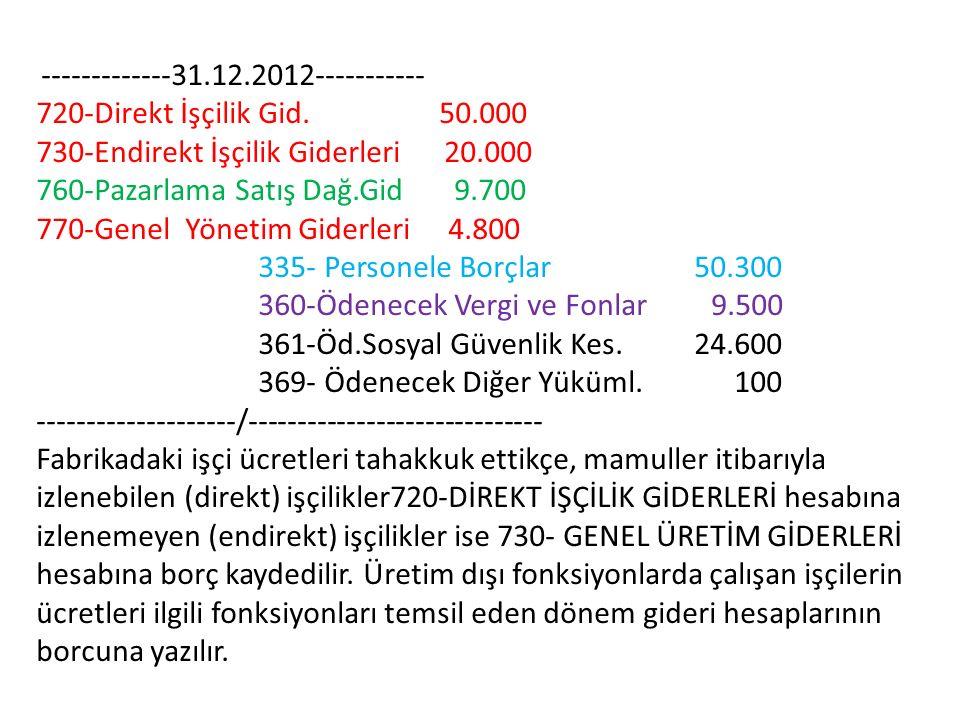 730-Endirekt İşçilik Giderleri 20.000