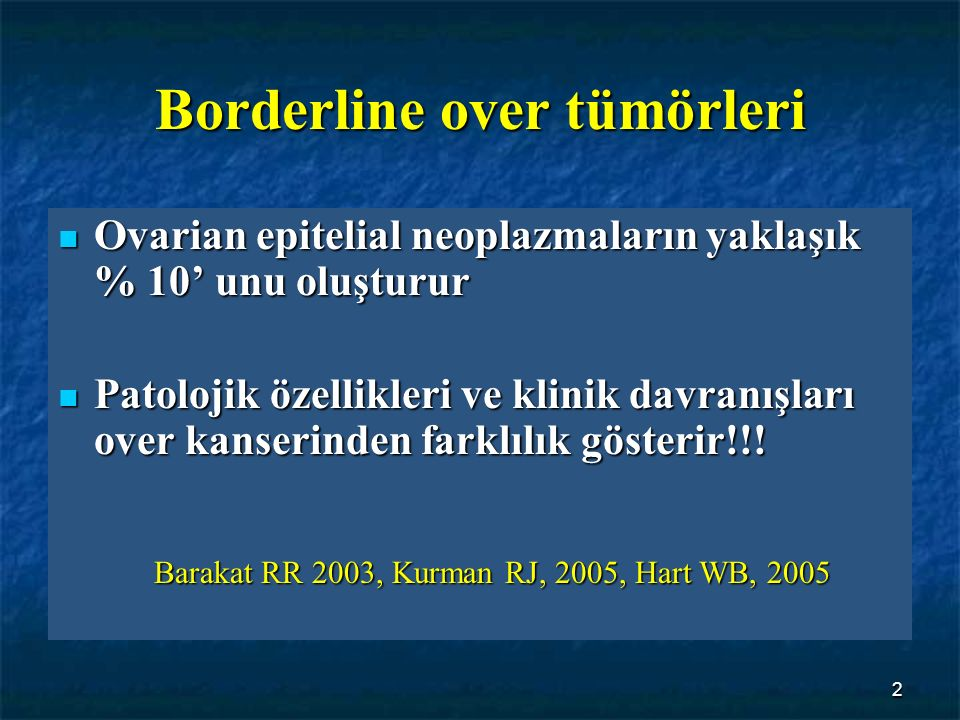 Borderline over tümörleri