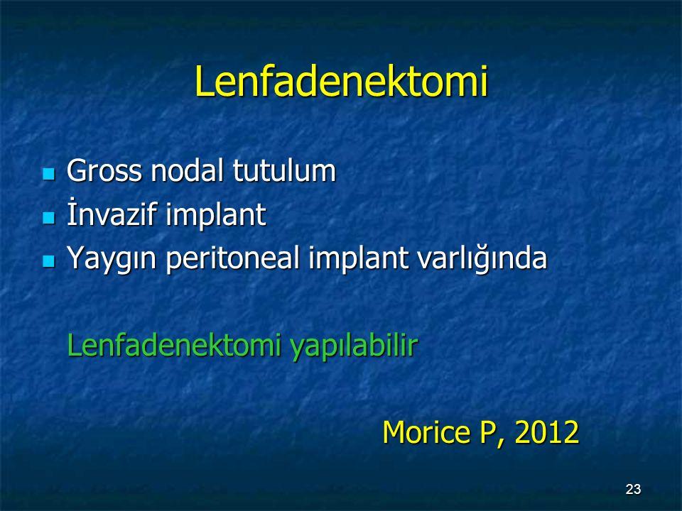 Lenfadenektomi Gross nodal tutulum İnvazif implant