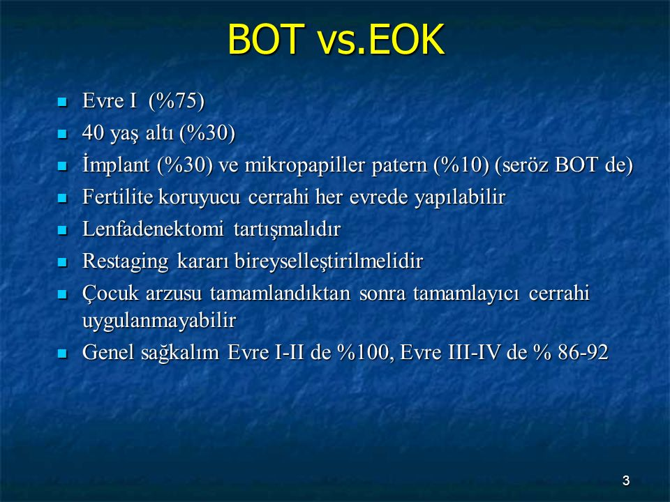 BOT vs.EOK Evre I (%75) 40 yaş altı (%30)