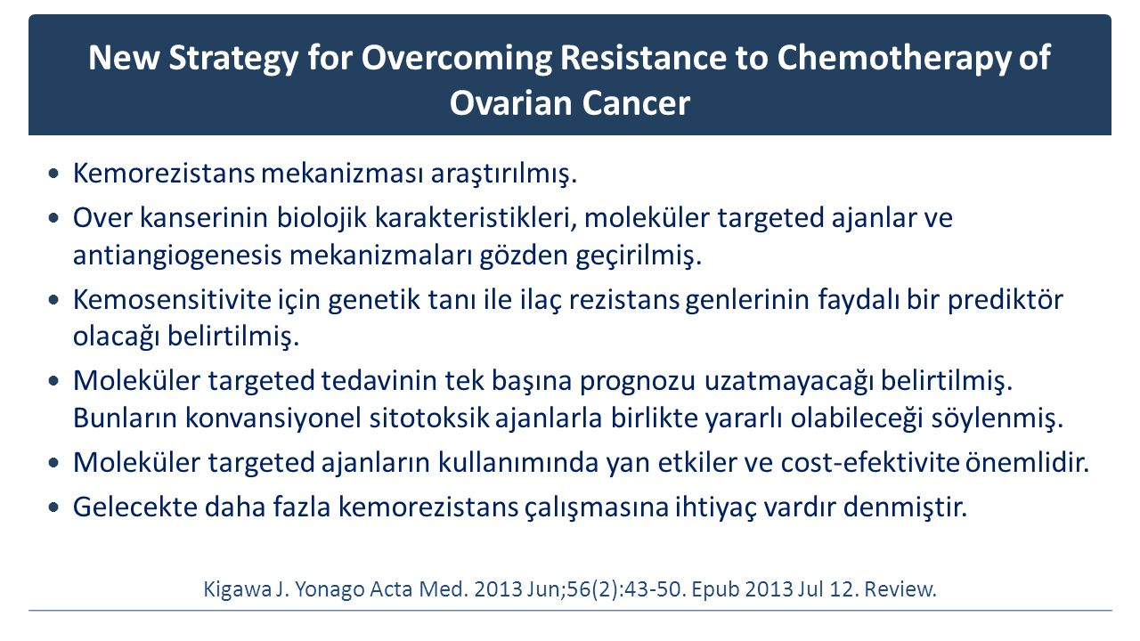 New Strategy for Overcoming Resistance to Chemotherapy of Ovarian Cancer