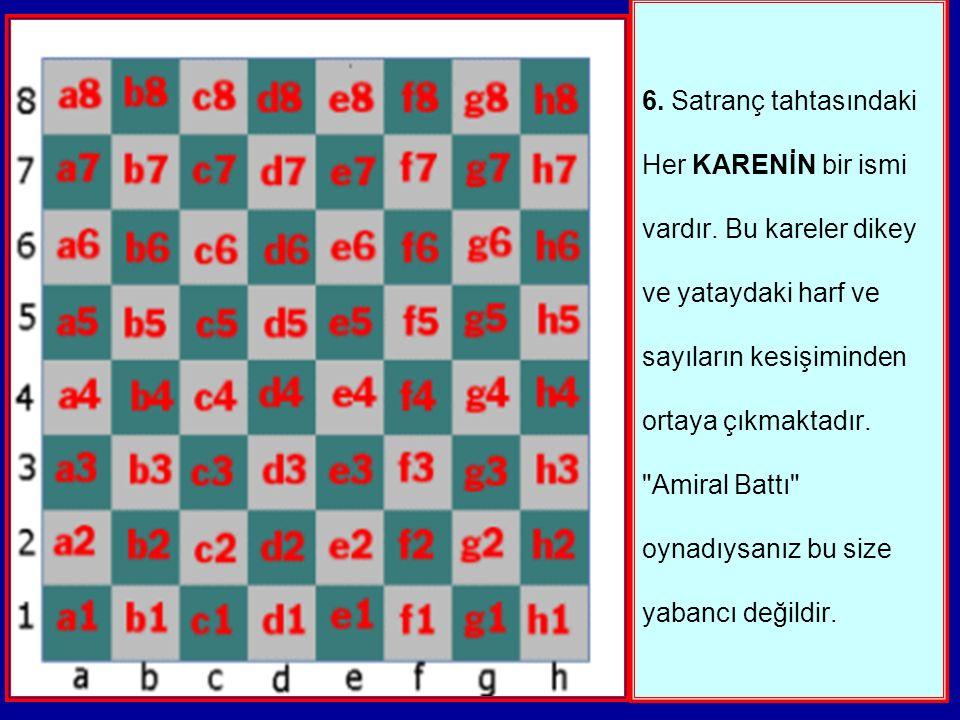 6. Satranç tahtasındaki Her KARENİN bir ismi vardır