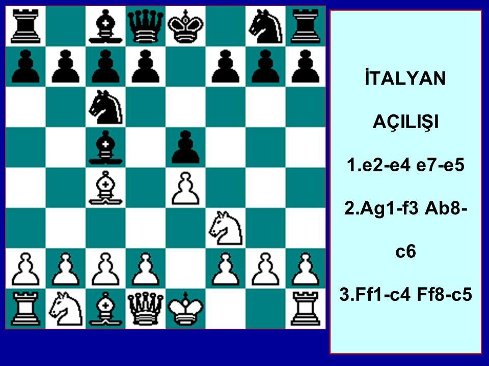İTALYAN AÇILIŞI 1.e2-e4 e7-e5 2.Ag1-f3 Ab8-c6 3.Ff1-c4 Ff8-c5