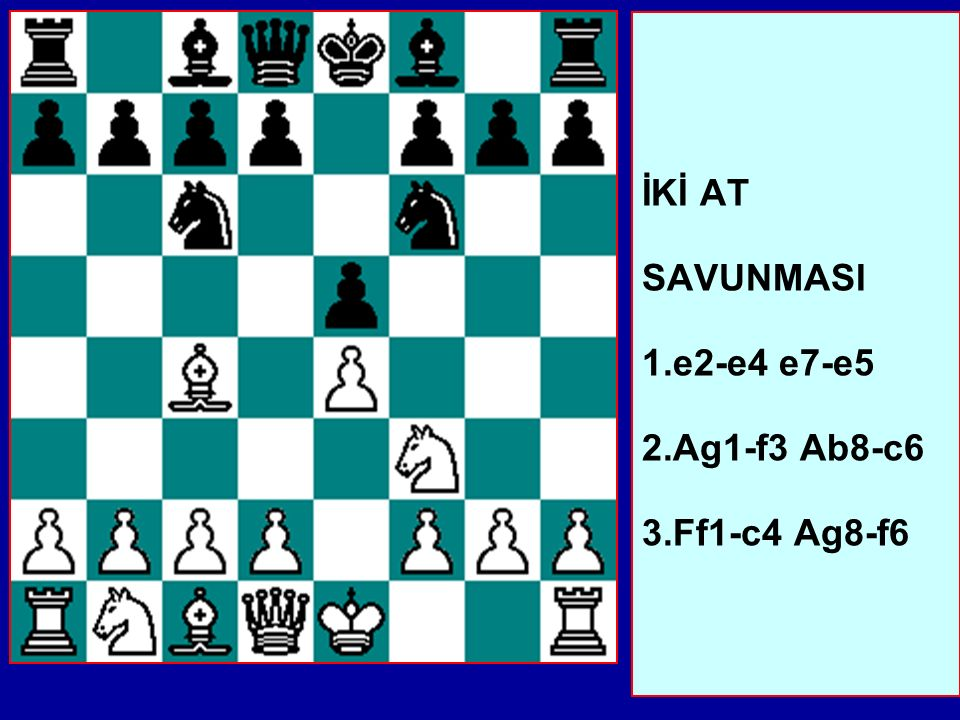 İKİ AT SAVUNMASI 1.e2-e4 e7-e5 2.Ag1-f3 Ab8-c6 3.Ff1-c4 Ag8-f6