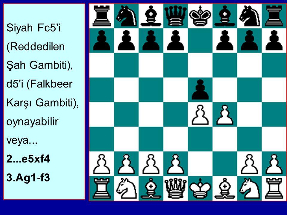 Siyah Fc5 i (Reddedilen Şah Gambiti), d5 i (Falkbeer Karşı Gambiti), oynayabilir veya...