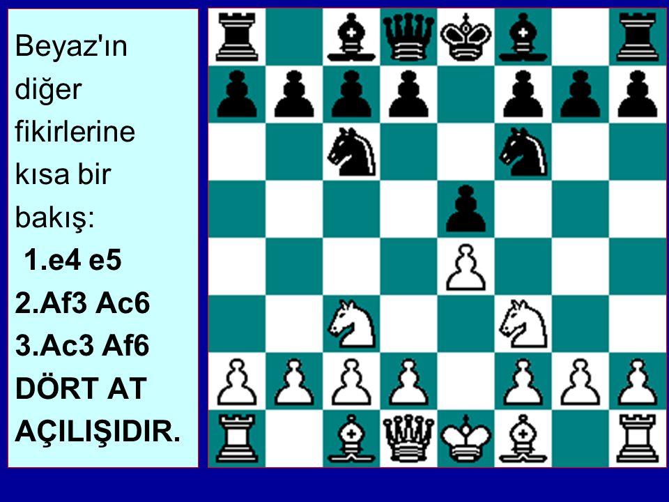 Beyaz ın diğer fikirlerine kısa bir bakış: 1. e4 e5 2. Af3 Ac6 3