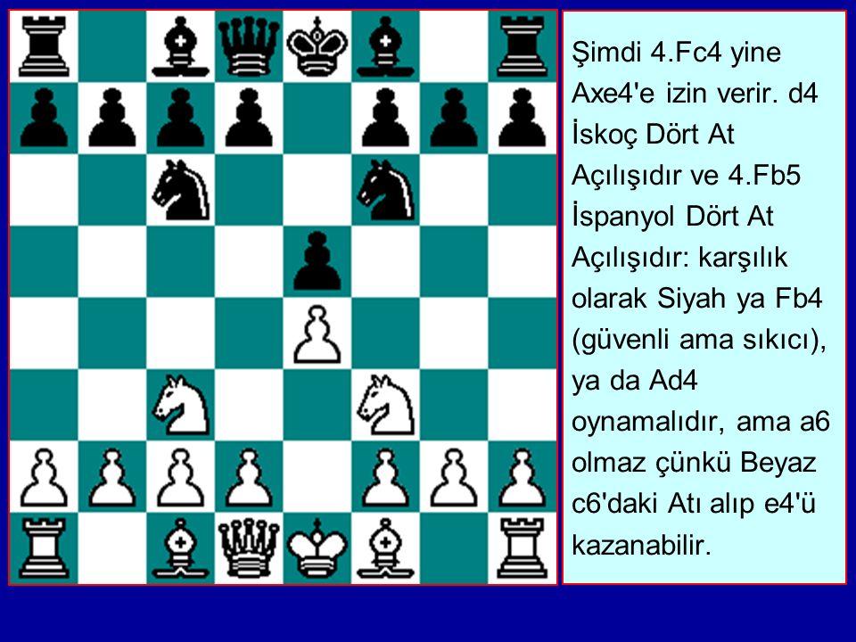 Şimdi 4. Fc4 yine Axe4 e izin verir. d4 İskoç Dört At Açılışıdır ve 4