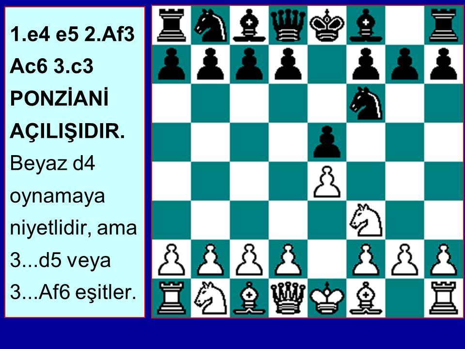 1. e4 e5 2. Af3 Ac6 3. c3 PONZİANİ AÇILIŞIDIR