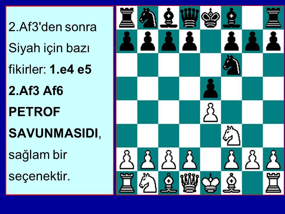 2. Af3 den sonra Siyah için bazı fikirler: 1. e4 e5 2