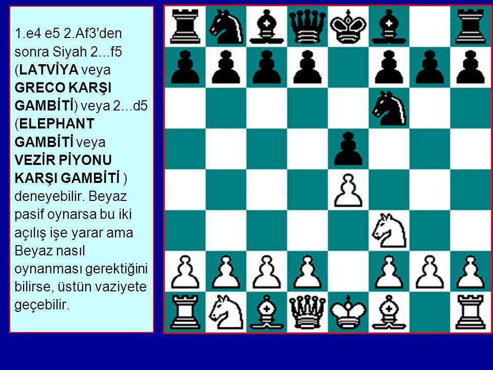 1.e4 e5 2.Af3 den sonra Siyah 2...f5 (LATVİYA veya GRECO KARŞI GAMBİTİ) veya 2...d5 (ELEPHANT GAMBİTİ veya VEZİR PİYONU KARŞI GAMBİTİ ) deneyebilir.