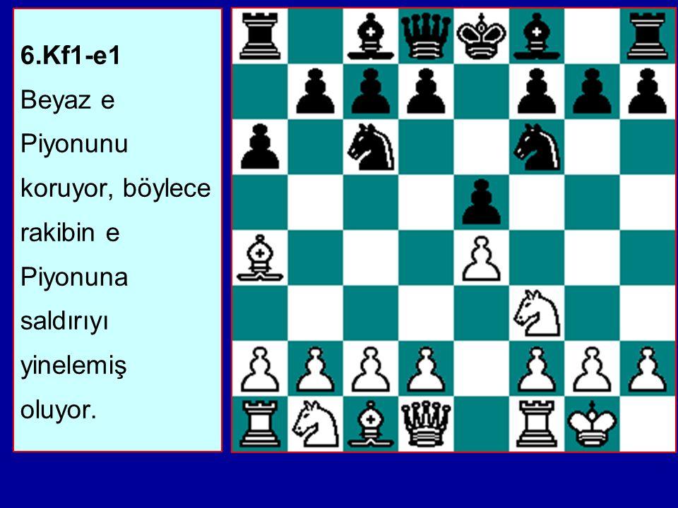 6.Kf1-e1 Beyaz e Piyonunu koruyor, böylece rakibin e Piyonuna saldırıyı yinelemiş oluyor.