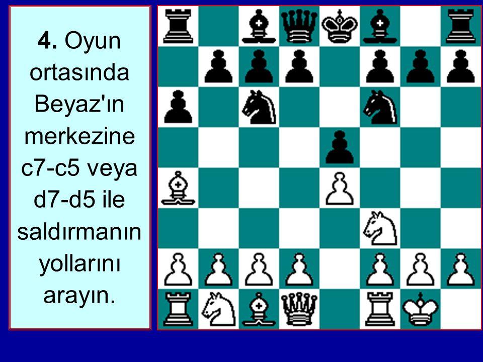 4. Oyun ortasında Beyaz ın merkezine c7-c5 veya d7-d5 ile saldırmanın yollarını arayın.