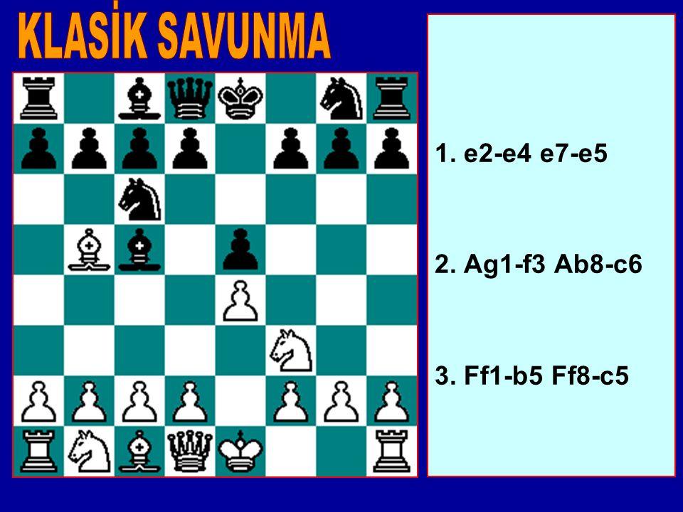 1. e2-e4 e7-e5 2. Ag1-f3 Ab8-c6 3. Ff1-b5 Ff8-c5