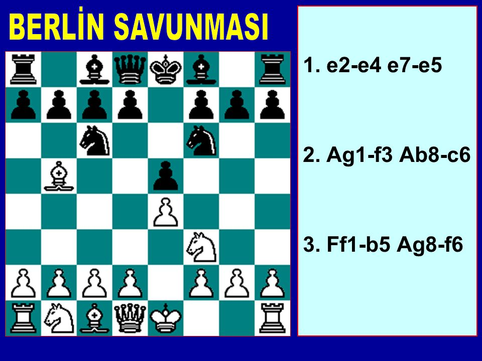 BERLİN SAVUNMASI 1. e2-e4 e7-e5 2. Ag1-f3 Ab8-c6 3. Ff1-b5 Ag8-f6