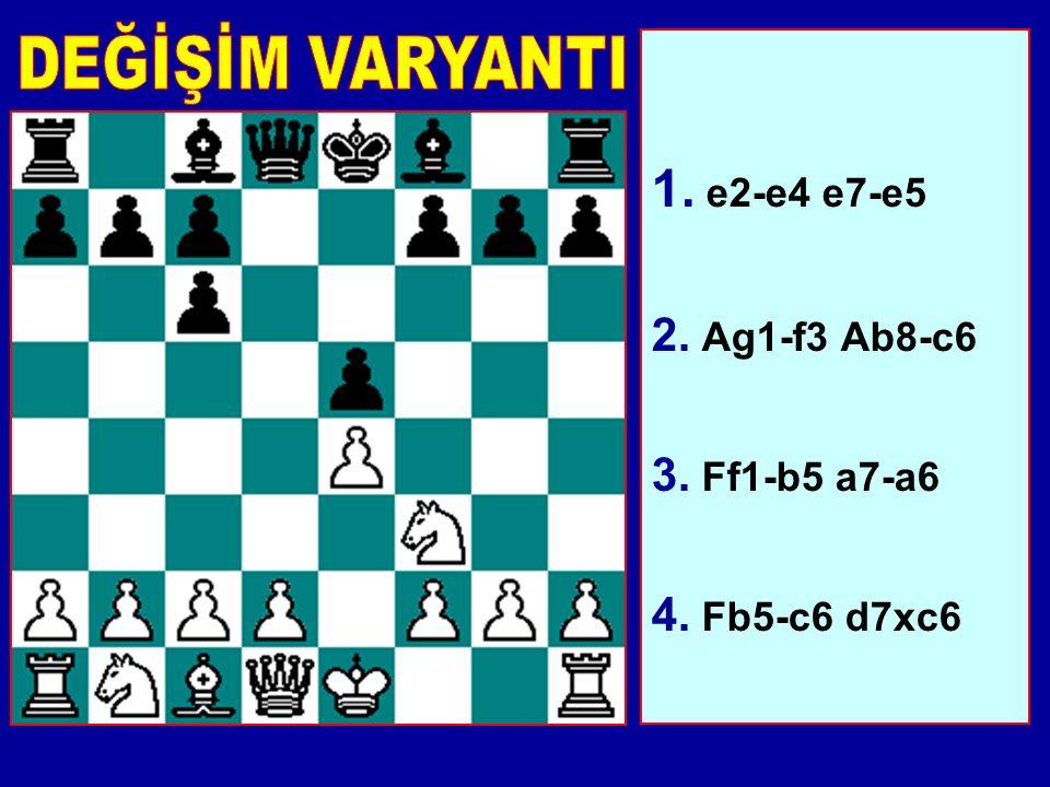 1. e2-e4 e7-e5 2. Ag1-f3 Ab8-c6 3. Ff1-b5 a7-a6 4. Fb5-c6 d7xc6